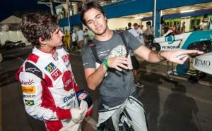 Pietro Fittipaldi ouve dicas de Nelsinho Piquet no Kart das Estrelas